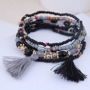 3/$20 New Black & Grey Beaded Bracelet Set